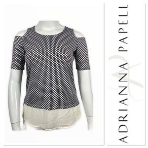 Adrianna Papell black/white cold shoulder top